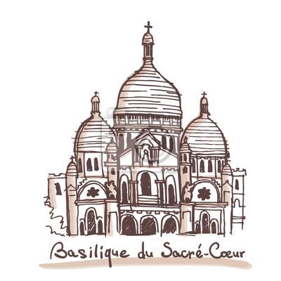 Hand gezeichnete Skizze der Basilika des heiligen Herzens von Paris, Frankreich. Vektor-Zeichnung isoliert auf weißem Hintergrund