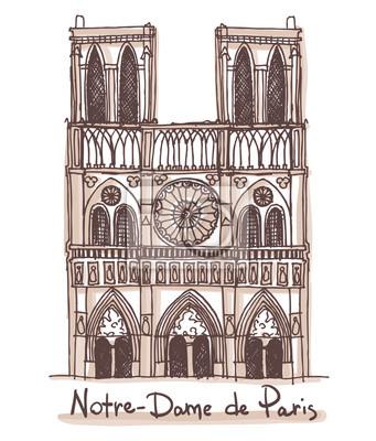 Hand gezeichnete Skizze der Notre-Dame de Paris, Frankreich. Vektor-Zeichnung isoliert auf weißem Hintergrund