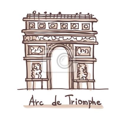 Hand gezeichnete Skizze des Arc de Triomphe (Arch of Triumph), Paris, Frankreich. Vektor-Zeichnung isoliert auf weißem Hintergrund