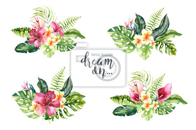 Hand gezeichnete tropische Blumenblumensträuße des Aquarells. Exotische Palmblätter, Dschungelbaum, tropische Botanikelemente und Blumen Brasiliens. Perfekt für Stoffdesign. Aloha Design