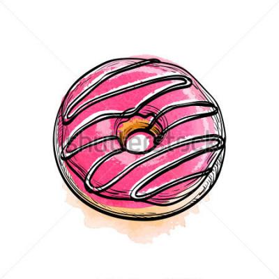 Sticker Hand gezeichnete vektorabbildung des Donuts.