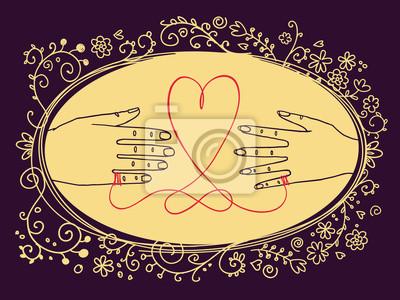 Hand gezeichnete Weinlese Valentinstag-Grußkarte oder Hochzeitseinladung, mit männlichen und weiblichen Händen, die durch die rote Schnur des Schicksals und des ovalen Blumenrahmens verbunden werden