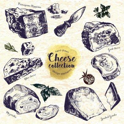 Sticker Hand gezeichneten Käse-Set