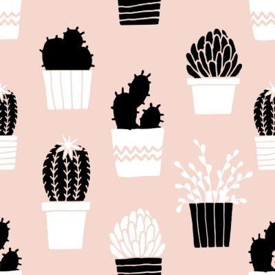 Sticker Hand gezeichnetes Kaktus-Muster