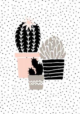 Sticker Hand gezeichnetes Kaktus-Plakat