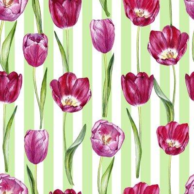 Sticker Hand gezeichnetes nahtloses Muster des Aquarells mit Tulpen