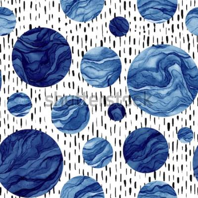 Sticker Hand gezeichnetes nahtloses Muster von Aquarell-tiefen blauen Kreisen. Marmorbeschaffenheit