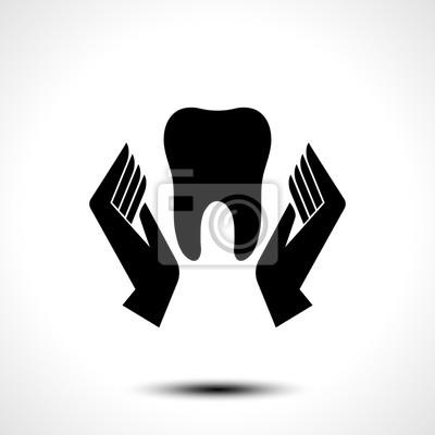 Hand hält eine zahn-symbol, zahnärztliche und gesundheitspflege ...