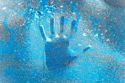 Sticker hand handprint on frozen ice save the planet