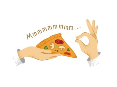 Hand holding a piece of pizza, the second hand in the gesture is very tasty. Decorative symbols for restaurant, cafe, menu hand drawn in a modern style. Banner for recipes. Cartoon vector illustration