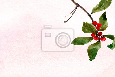 hand painted watercolor background pink wash with red berries and green leaf sprig