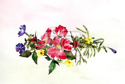hand painted watercolor flowers and roses in reds and pinks