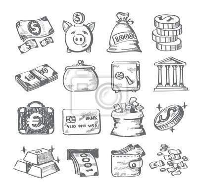 Hand Zeichnen Geld Notebook Sticker Wandsticker Geldsack