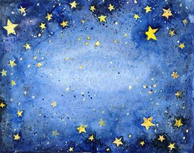Sticker Handbemalt Aquarell blauen Himmel mit hellen Sternen