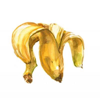 Sticker Handgemalte Aquarell Illustration einer Banane