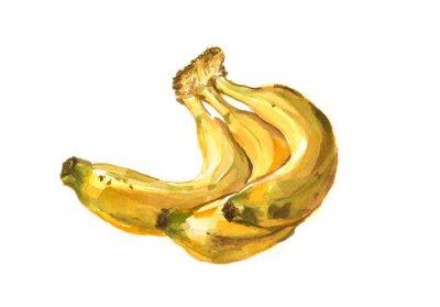 Sticker Handgemalte Aquarell Illustration einer Bananen