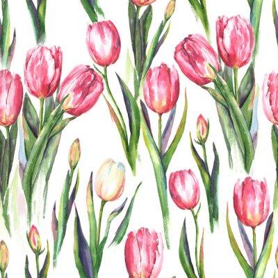 Sticker Handgezeichnet Aquarell nahtlose Muster mit rosa und weißen Tulpe Blumen. Wiederholter Frühlingsdruck für die Textil-, Tapete. Tender und schöner Hintergrund
