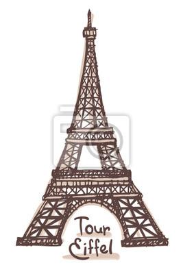 Handgezeichnete Skizze des Eiffelturms, Paris, Frankreich. Vektor-Zeichnung isoliert auf weißem Hintergrund