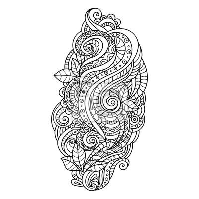 Handgezeichnete Verzierung Mit Blumenmuster Zum Ausmalen Für