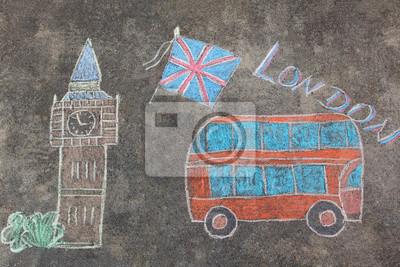 Handgezeichneten London Doodles Set mit bunten Kreiden
