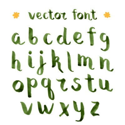 Sticker Handmade ink green alphabet.