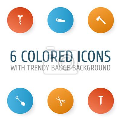 Handwerkzeuge icons set. sammlung von schraube, axt, bolzen und ...