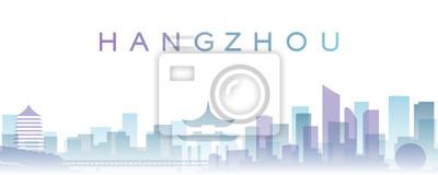 Hangzhou Transparent Layers Gradient Landmarks Skyline