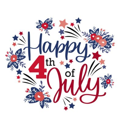 Sticker Happy 4th of July greeting lettering sign. Vector calligraphy design for Independence day card, poster or banner decoration with flowers and stars in pink, blue and red colours.