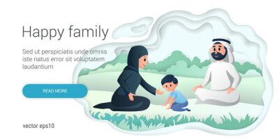 Happy arabic family playing with children in the park. Cartoon Vector illustration. Family day, celebration.
