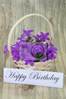 Sticker Happy Birthday Card With Campanula Flower Basket