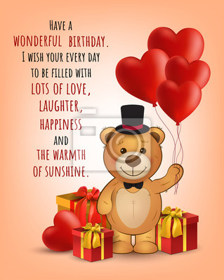 Sticker Happy Birthday Card With Cute Teddy Bear And Gifts BalloonsVector Greeting