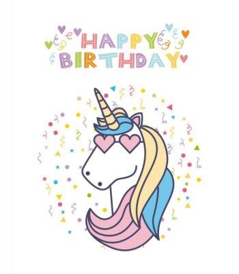 Happy Birthday Karte Mit Niedlichen Unicorn Symbol Auf Weissem