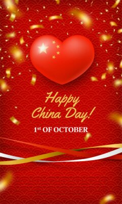 Sticker Happy China Day, 1st of October red card. Chinese memorial holiday greeting banner, poster, background in patriotic color with gold stars and glossy 3d heart realistic vector illustration