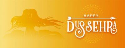 Sticker happy dussehra traditional golden banner design