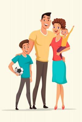Happy family vector cartoon color illustration