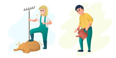 Happy farmers characters, husband and wife working on the farm, gardening and farming characters. Cute modern style vector.