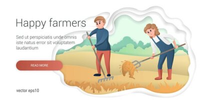 Happy farmers characters, man and woman work on the farm, gardening and farming characters. Cute modern style vector.
