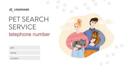 Happy girl and guy holding their lost Pets.  Cat and dog on an abstract background. Template of landing page for Pet search service. Banner for finding your favorite animals. Vector illustration.