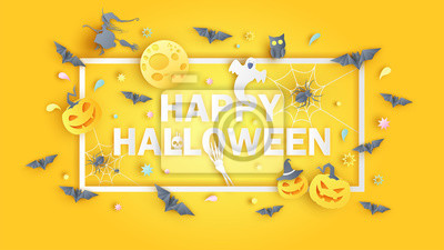 Happy Halloween calligraphy design. Cute happy Halloween. greeting card. paper cut and craft style. vector, illustration.