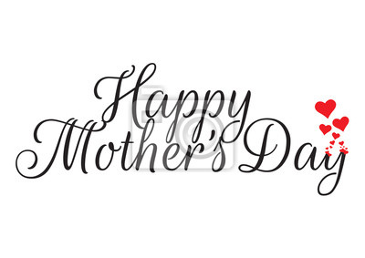 Happy Mother's Day, Hearts Illustration, Wording Design. Isolated Vector on white background