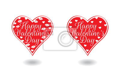Happy Valentine's Day, Hearts Illustration. Wording Design isolated on white background