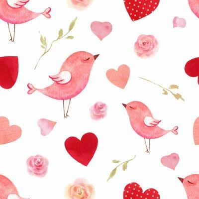 Sticker Happy Valentine's day watercolor vector seamless pattern.
