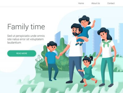 Happy young parents spending time together outside in green nature. Walking in the park. Cartoon Vector illustration. Family day, celebration. Family time weekend.