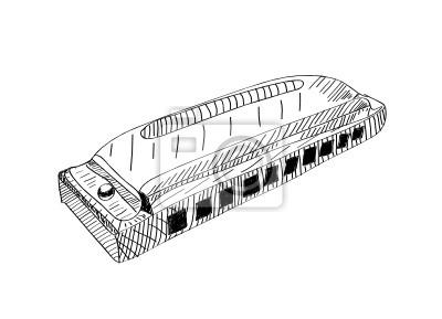 Harmonica in schwarz und weiß. Hand gezeichnete Illustration