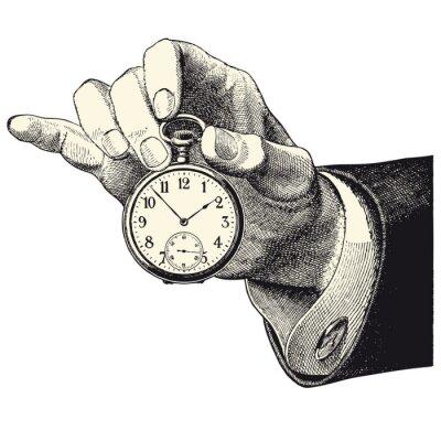 Sticker Haupt d'homme Mieter une montre