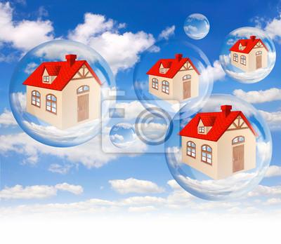 Haus Blase auf dem Hintergrund blauer Himmel auf weiß