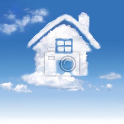 Haus der Wolken in den blauen Himmel auf Gradienten-weißem Hintergrund