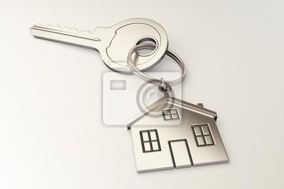 Haus geformt Schlüsselbund auf weißem Hintergrund
