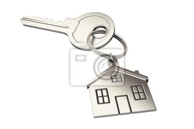 Haus geformt Schlüsselbund isoliert auf weißem Hintergrund