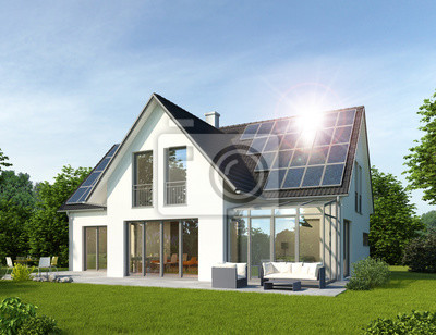 Haus Mit Wintergarten Und Solardach Notebook Sticker Wandsticker